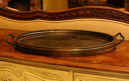 Oval Serving Tray in Ebony Stain