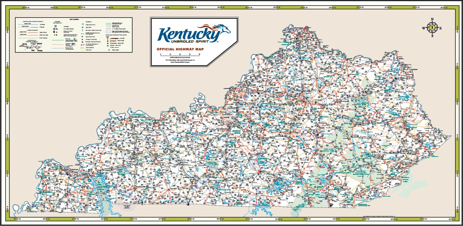 Road Map Of Kentucky MAP - Road map of kentucky