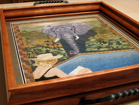 Serving Tray featuring Needlepoint Under Glass